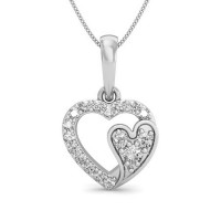 Heart Diamond Pendants 0.11 ct Solid Gold perfect Gift Natural Certified