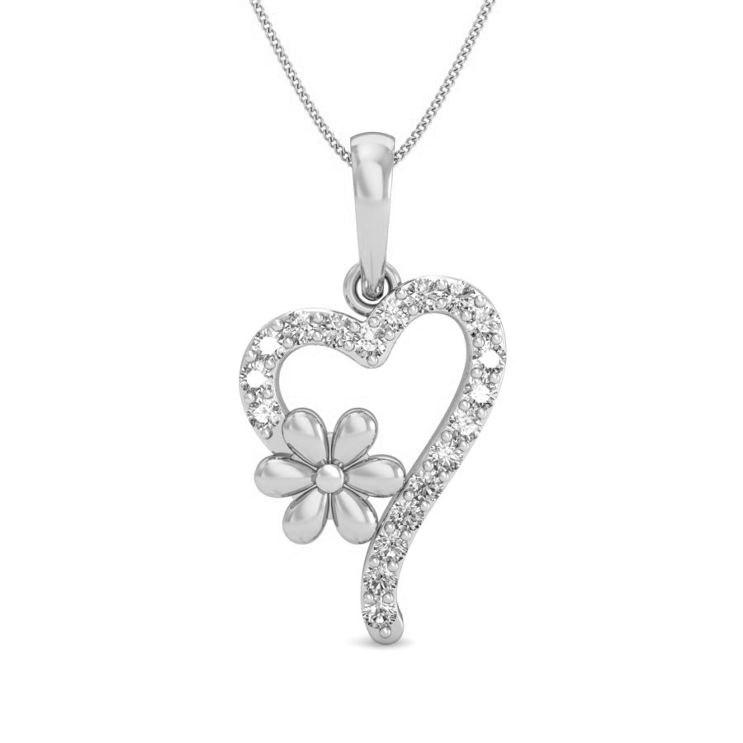 Fine Diamond Heart Pendant 0 13 Ct Valentine Gift Solid Gold