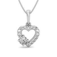 Diamond Heart Pendant Necklace 0.18 ct Solid Gold Natural Certified