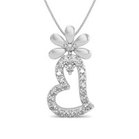 Valentine Pendant with Diamond 0.15 ct Solid Gold Natural Certified