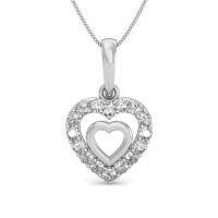 Heart Diamond Pendants 0.1 ct Solid Gold Gift For Love Natural Certified