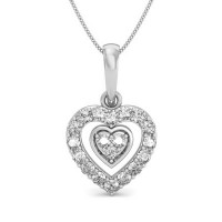 Fine Diamond Heart Pendant 0.12 ct Solid Gold Natural Certified