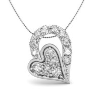 Heart Pendant Necklace 0.1 ct Diamond Solid Gold Natural Certified