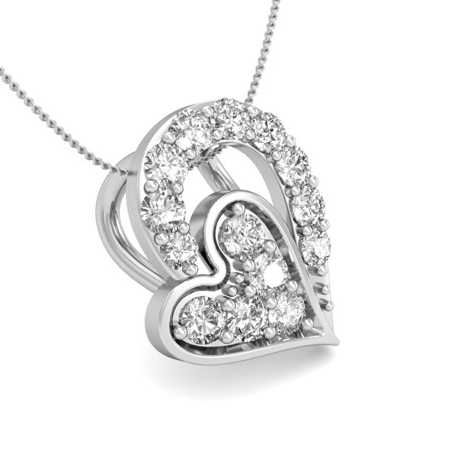 Heart pendant necklace 01ct diamond solid gold natural certified heart pendant necklace 01 ct diamond solid gold natural certified aloadofball Images