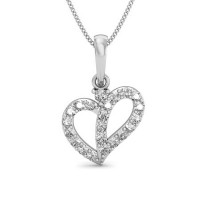Fine Diamond Heart Pendant 0.15 ct Solid Gold Natural Certified