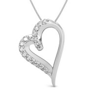 Valentine Pendant with Diamond 0.1 ct Solid Gold Natural Certified