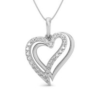 Valentine Day Diamond Necklace 0.17 ct Solid Gold Natural Certified
