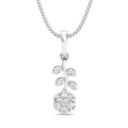 White Gold Pendant 0.129 Ct Natural Diamond Solid Gold Engagement