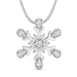 White Gold Pendant 0.121 Ct Natural Diamond Solid Gold Workwear