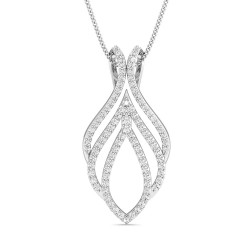 White Gold Pendant 0.575 Ct Natural Diamond Solid Gold Wedding
