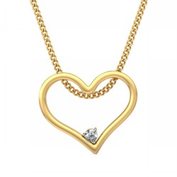 Gold Diamond Pendant 0.025 Ct Natural Diamond Solid Gold Office Wear