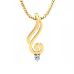 Gold Diamond Pendant 0.03 Ct Natural Diamond Solid Gold Anniversary