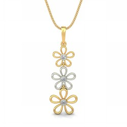 White Gold Pendant 0.075 Ct Natural Diamond Solid Gold Festive