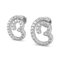 Diamond Heart Earrings 0.32 ct Natural Certified Solid Gold Studs