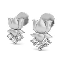 Heart Shaped Earrings 0.18 ct Diamond Natural Certified Solid Gold Studs