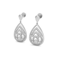 Heart Shaped Earrings 0.42 ct Diamond Natural Certified Solid Gold Studs