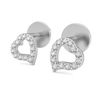 Gold Heart Earrings 0.17 ct Diamond Valentine Special Gift