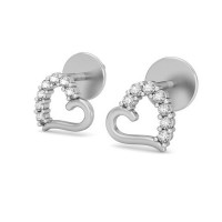 Heart Shaped Diamond Earrings 0.14 ct Gold Valentine Day Gift