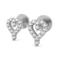 Diamond Heart Earrings 0.28 ct Natural Certified Solid Gold Studs For Valentine