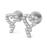 Heart Earrings 0.32 ct Diamond Natural Certified Solid Gold Studs Valentine