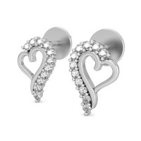 Heart Shaped Earrings 0.22 ct Diamond Natural Certified Solid Gold Studs For Valentine