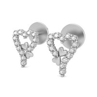 Gold Heart Earrings 0.28 ct Diaond Gift For Your Love
