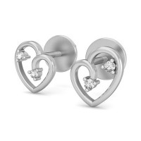 Heart Shaped Diamond Earrings 0.04 ct Gold Valentine