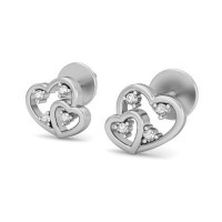 Heart Diamond Earrings 0.08 ct Natural Certified Solid Gold Studs Valentine