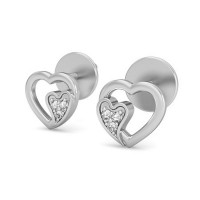 Diamond Heart Earrings 0.03 ct Gold Studs Valentine