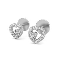 Heart Earrings 0.17 ct Diamond Natural Certified Solid Gold Studs For Valentine