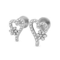 Heart Shaped Earrings 0.22 ct Diamond Natural Certified Solid Gold Studs Gift For Her