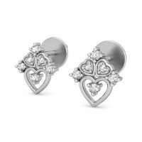 Diamond Heart Earrings 0.16 ct Natural Certified Solid Gold Valentine