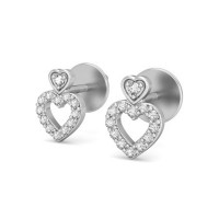 Heart Earrings 0.19 ct Diamond Natural Certified Solid Gold Studs Valentine
