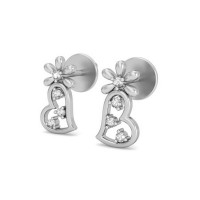 Heart Shaped Earrings 0.08 ct Diamond Natural Certified Solid Gold Studs