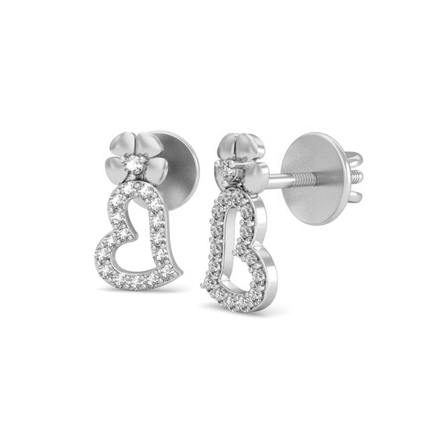 32a7b3d4f44 ... Heart Shaped Diamond Earrings 0.23 ct Natural Certified Solid Gold  Valentine Gift