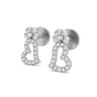 Heart Shaped Diamond Earrings 0.23 ct Natural Certified Solid Gold Valentine Gift