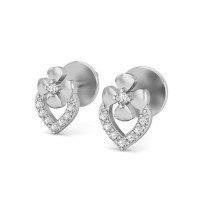 Heart Diamond Earrings 0.12 ct Natural Certified Solid Gold Studs Perfect Gift