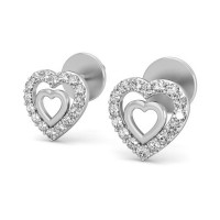 Heart Shaped Earrings 0.2 ct Diamond Natural Certified Solid Gold Studs