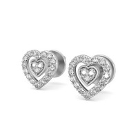 Gold Heart Earrings 0.24 ct Diamond For Valentine Gift