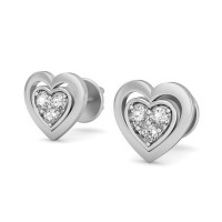 Heart Shaped Diamond Earrings 0.07 ct Natural Certified Solid Gold Studs