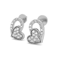 Heart Diamond Earrings 0.24 ct Natural Certified Solid Gold Studs