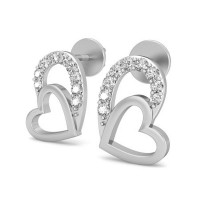 Diamond Heart Earrings 0.11 ct Natural Certified Solid Gold Gift For Special day