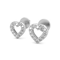 Gold Heart Earrings 0.16 ct Diamond Natural Certified Solid Gold Perfect Gift