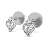 Gold Heart Earrings 0.1 ct Diamond Valentine Studs