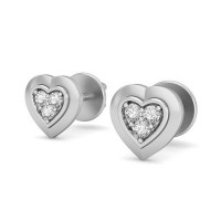 Heart Earrings 0.03 ct Diamond Natural Certified Solid Gold Studs