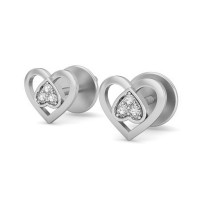 Heart Shaped Earrings 0.03 ct Diamond Natural Certified Solid Gold Perfect Gift for your love