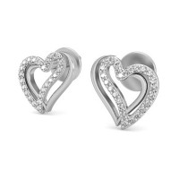 Heart Shaped Diamond Earrings 0.24 ct Natural Certified Solid Gold Studs