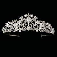 Princess Tiaras And Crowns Natural Certified Diamond 3.2 Ct Solid Gold Bridal Headpieces
