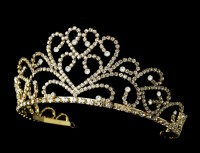 Gold Tiara Crown Natural Certified Diamond 20.5 Ct Solid Gold Hair Accessories