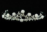 Queen Crown Natural Certified Diamond Pearl 3.5 Ct Sterling Silver Head Pieces